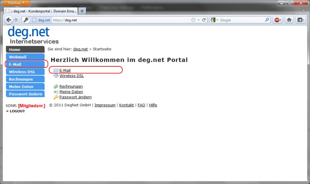 DegNet - Portal - Übersicht Logged-In