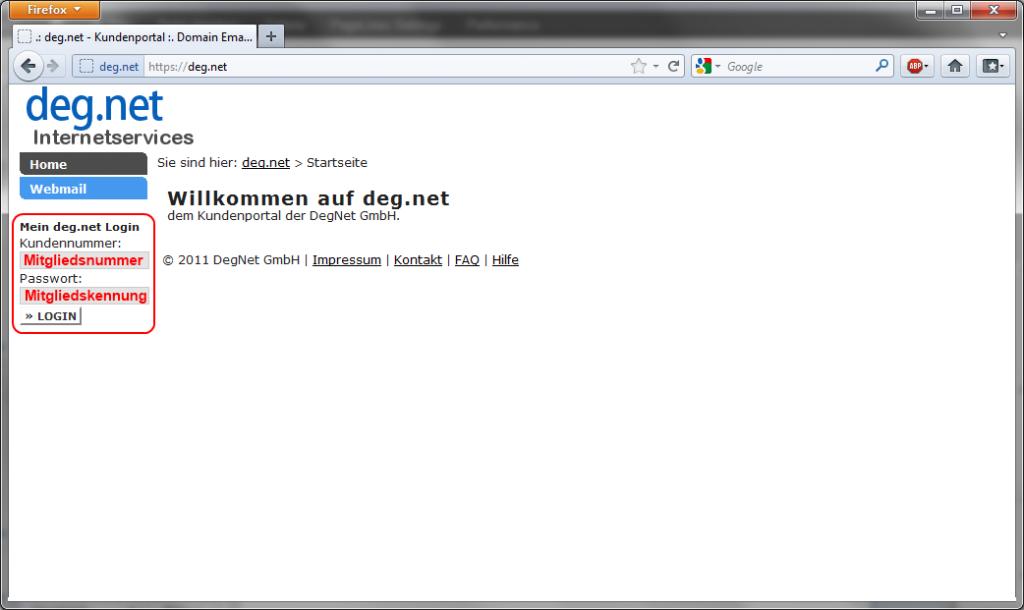 DegNet - Portal - Hauptseite